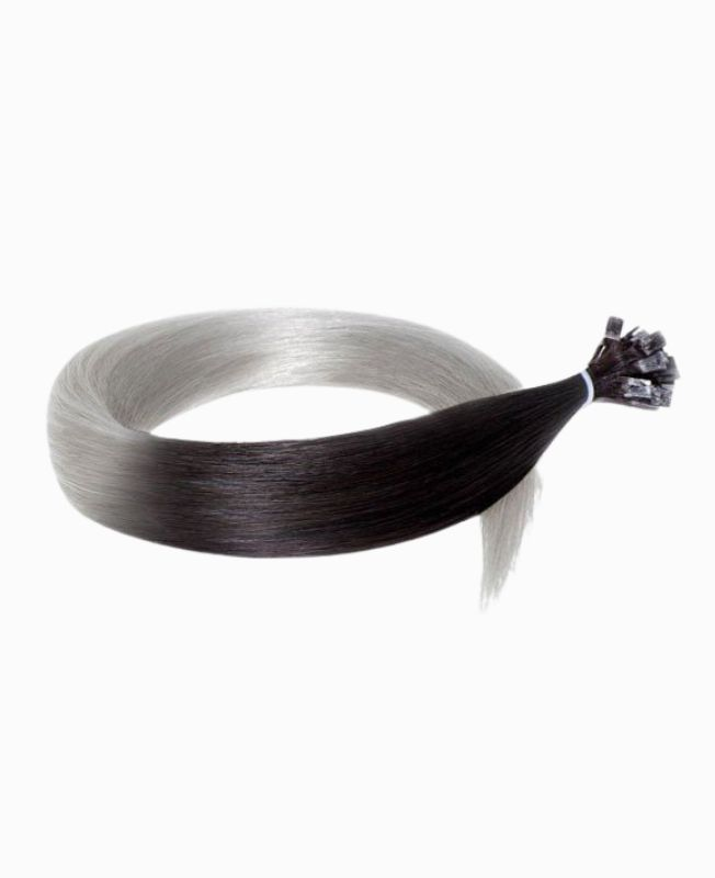 Pre-bonded Remy Human Hair Extensions - Straight - Excellence - Color Tie & Dye 1B-Grey