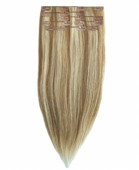 """Clip in Human Hair Extensions 18"""" (Set of 110 gr) Straight - Excellence - Color Highlights 613-14"""