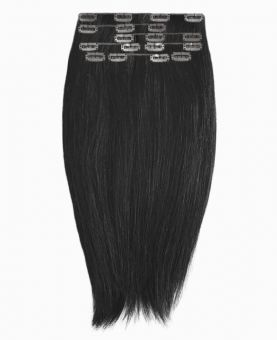 """Clip in Human Hair Extensions 18"""" (Set of 110 gr) Straight - Excellence - Color 1"""