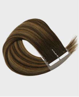 Tape in Remy human Hair Extensions - Straight - Excellence - Color Balayage Berlin