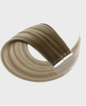 Tape in Remy human Hair Extensions - Straight - Excellence - Color Balayage Moscou