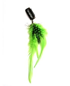 Clip plume flashy color - Vert - 20 cm - Bijoux de cheveux