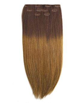 Extension a Clip Naturel 40 cm | Extension cheveux Lisse - Châtain Ombré N°4-10
