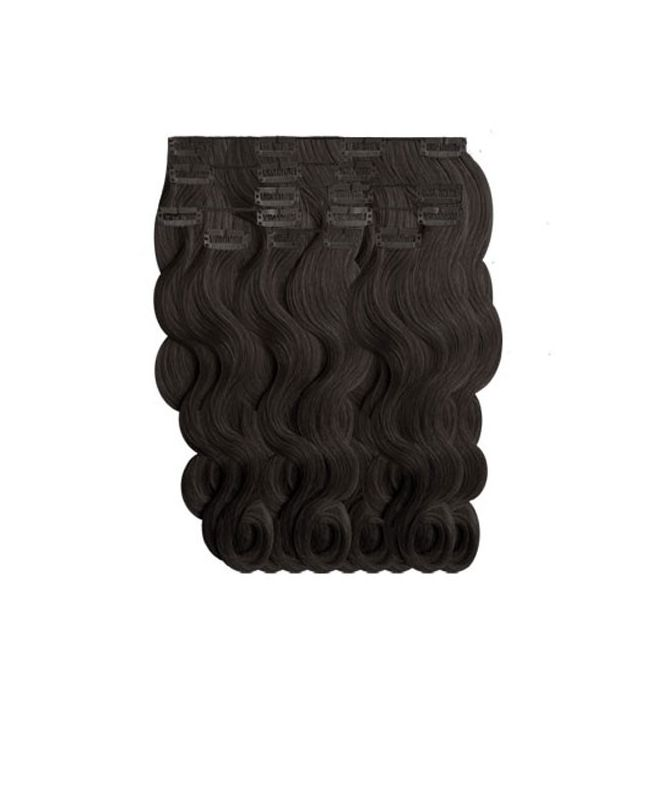 """Clip in Human Hair Extensions 18"""" (Set of 110 gr) Nature Wave - Excellence - Color 1"""
