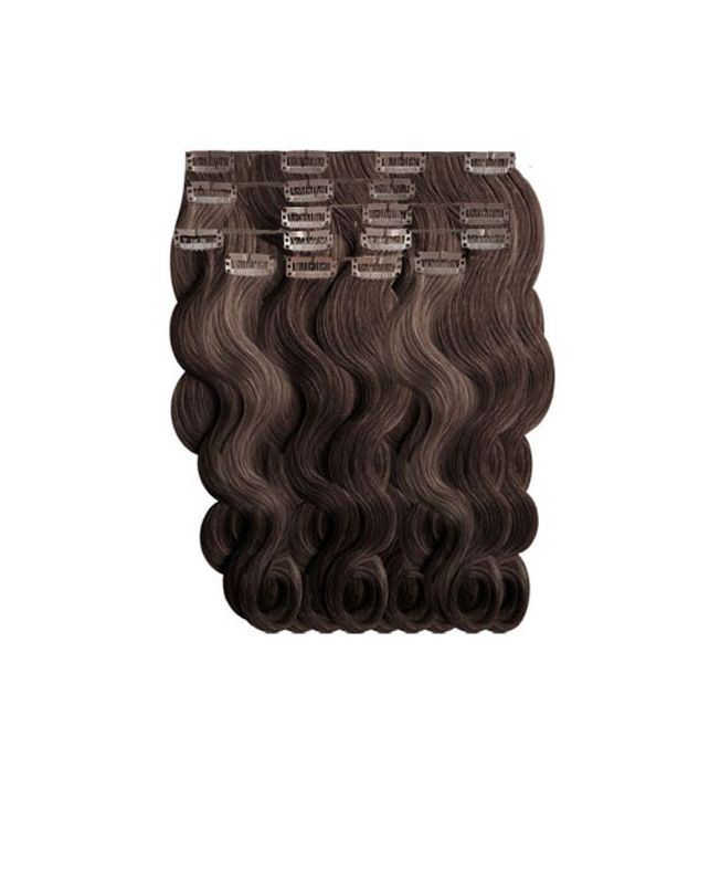"""Clip in Human Hair Extensions 18"""" (Set of 110 gr) Nature Wave - Excellence - Color 2"""