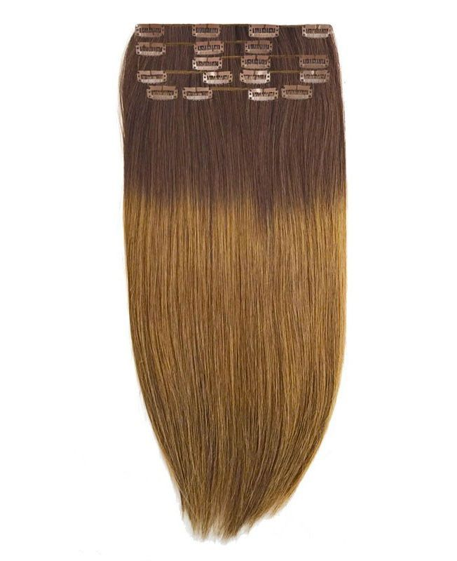 """Clip in Human Hair Extensions 18"""" (Set of 110 gr) Straight - Excellence - Color Tie And Dye 4-10"""