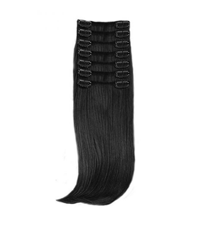 """Clip in Hair Extensions 18"""" (Set of 150 gr) Straight - Synthetic Fiber - Color 1"""