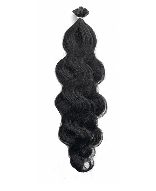 """Pre-bonded Remy Human Hair Extensions 18"""" - Wave - Excellence - Color 1"""