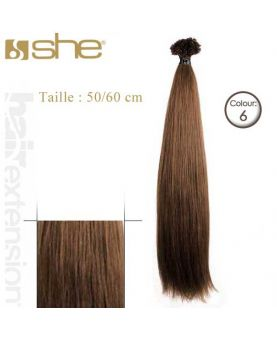 Extension cheveux Lisse - SHE - 10 Extensions kératine 50/60 cm - N° 6