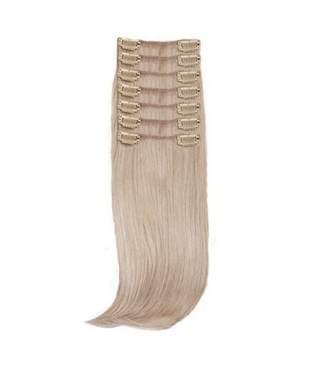 """Clip in Hair Extensions 18"""" (Set of 150 gr) Straight - Synthetic Fiber - Color 18"""