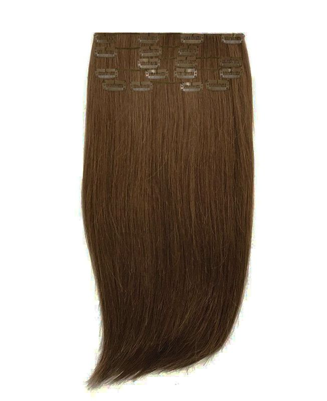 """Clip in Human Hair Extensions 16"""" (Set of 80 gr) Straight - Excellence - Color 8"""