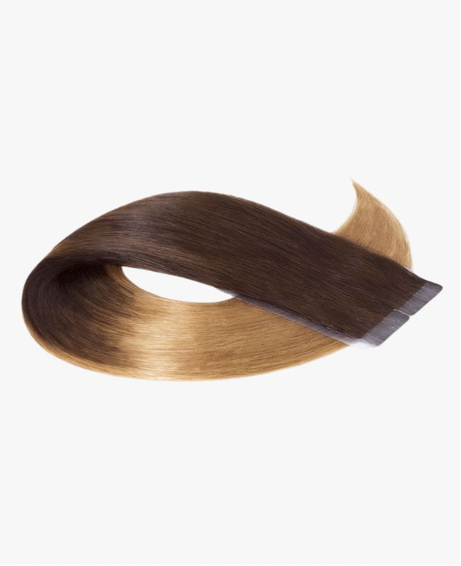 Tape in Remy human Hair Extensions - Straight - Excellence - Color Tie and Dye 4-10
